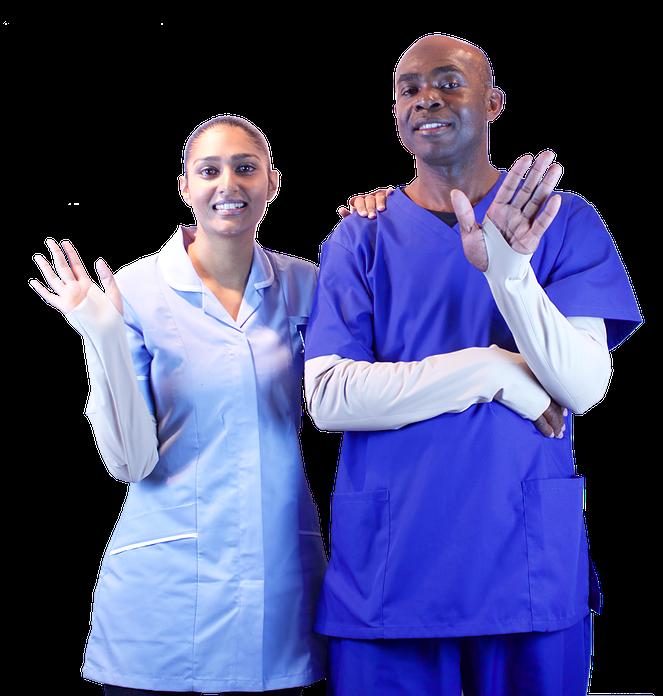 Nurses in GIPskins PPE Sleeves